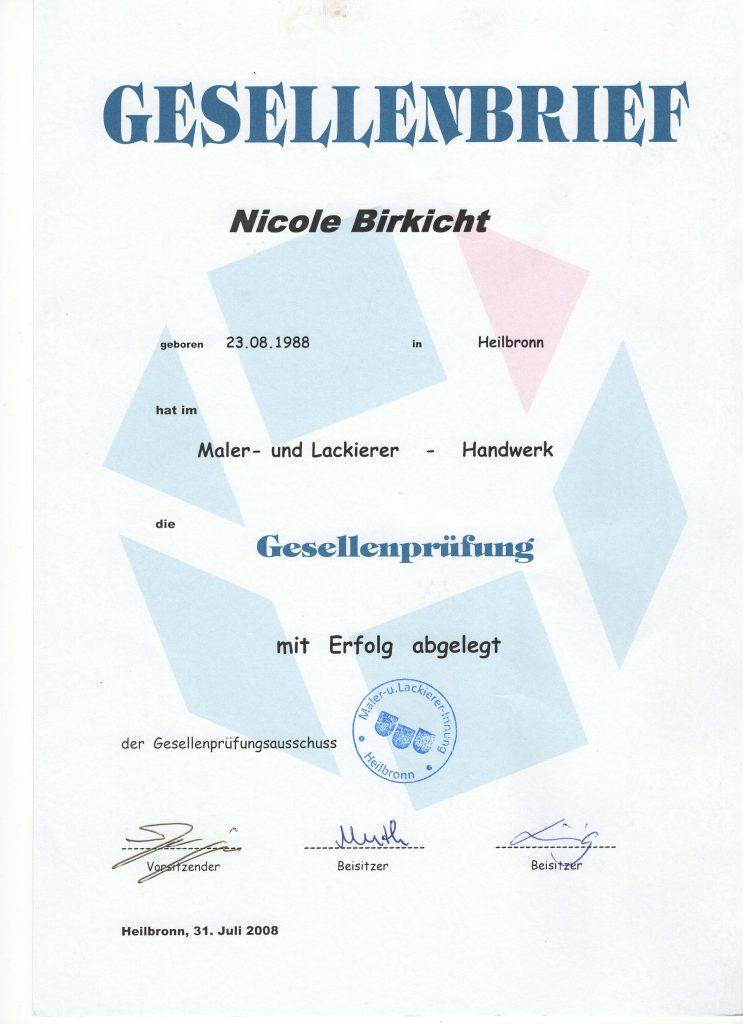 Gesellenbrief Nicole Birkicht