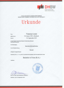 Urkunde Bachelor of Arts Vanessa Leutz